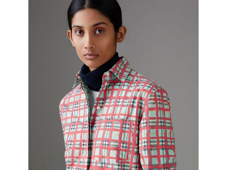 Painted Check Cotton Shirt in Bright Aqua - Women | Burberry - cell image 1