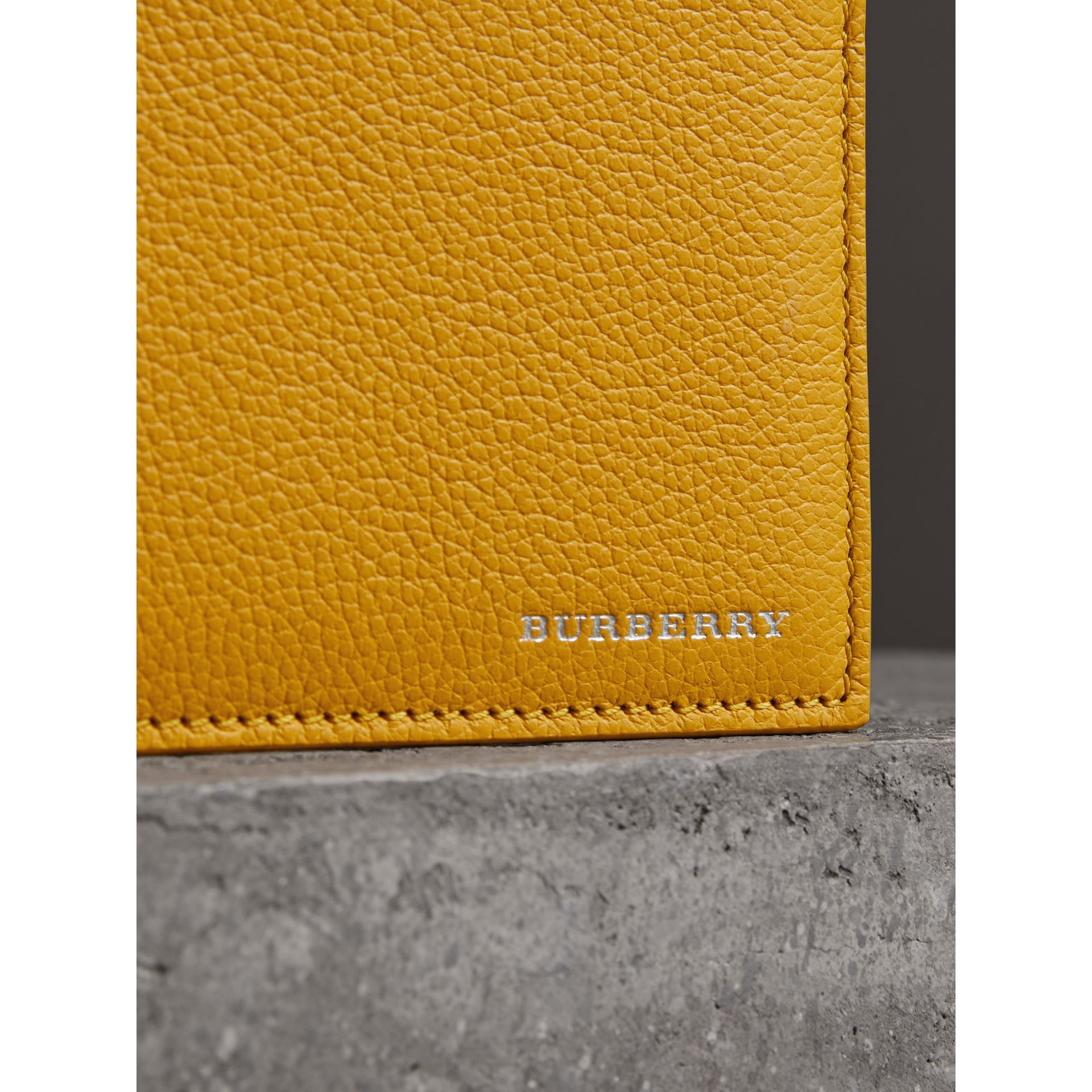 Grainy Leather International Bifold Wallet in Bright Ochre Yellow - Men | Burberry Hong Kong - gallery image 1