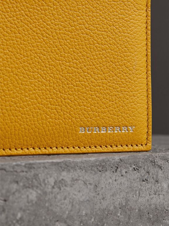 Grainy Leather International Bifold Wallet in Bright Ochre Yellow - Men | Burberry Hong Kong - cell image 1