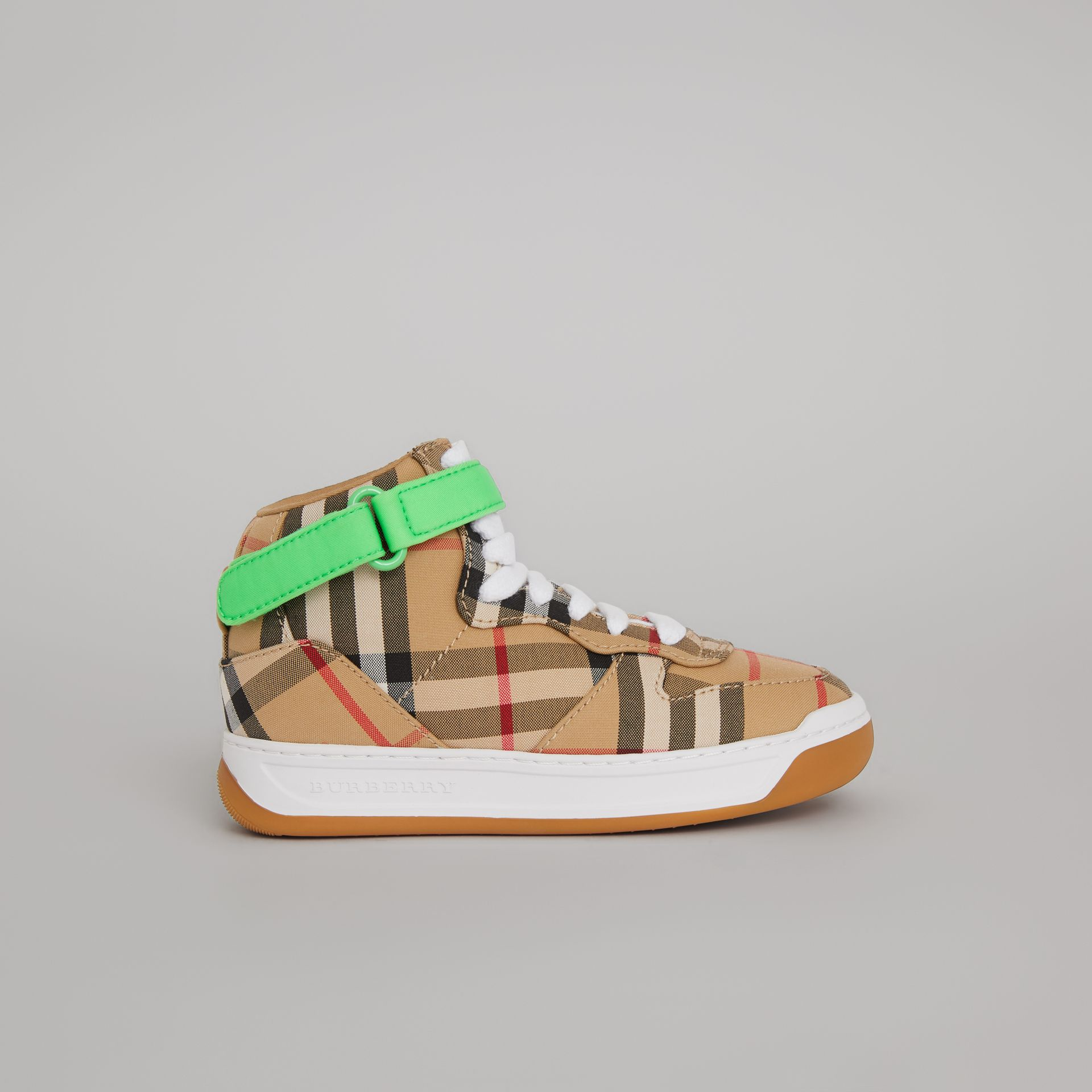 Vintage Check High-top Sneakers in Antique Yellow/neon Green | Burberry Singapore - gallery image 3