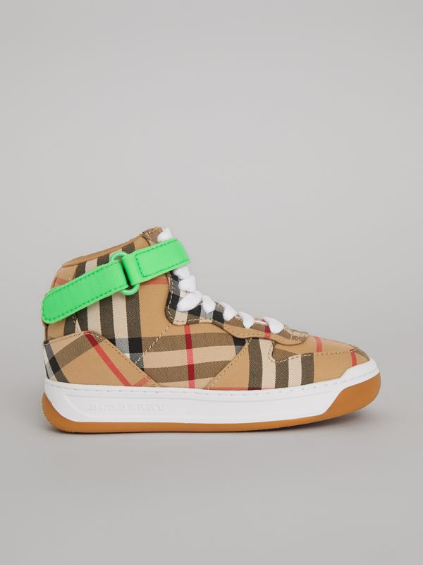 Vintage Check High-top Sneakers in Antique Yellow/neon Green | Burberry Singapore - cell image 3