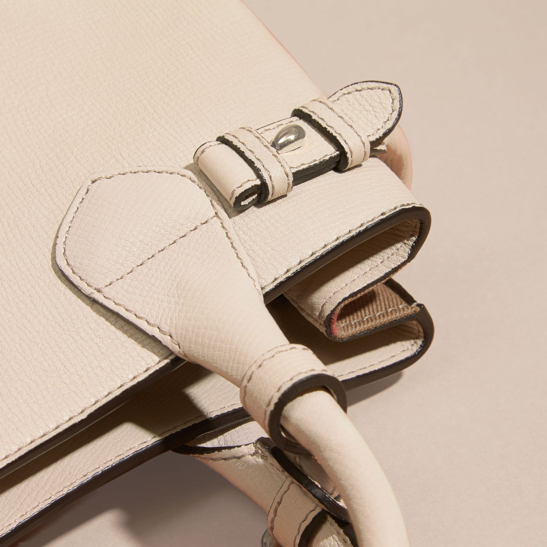 The Small Banner in Leather and House Check in Limestone - Women | Burberry Canada - gallery image 1