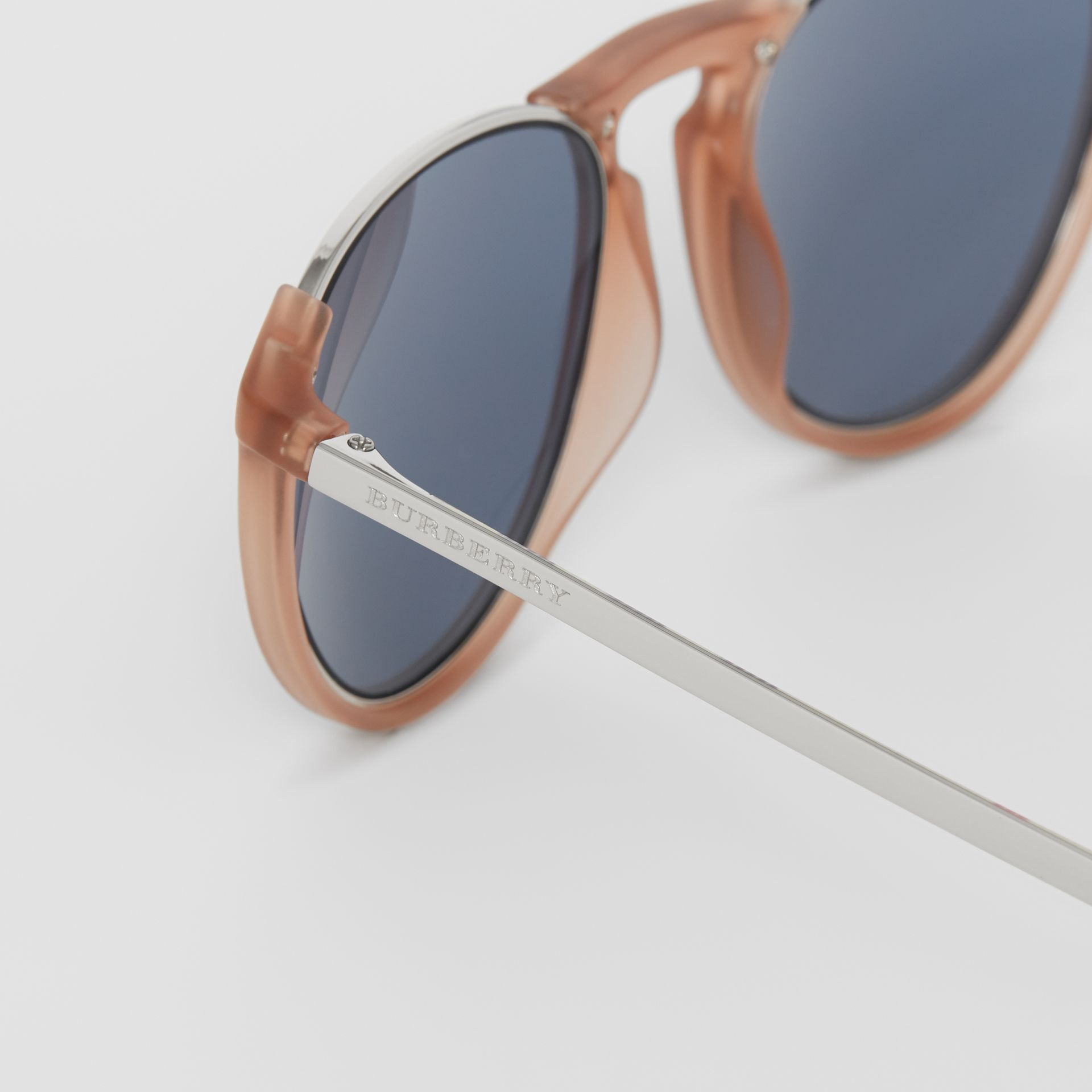 Keyhole Pilot Round Frame Sunglasses in Nude - Men | Burberry - gallery image 1