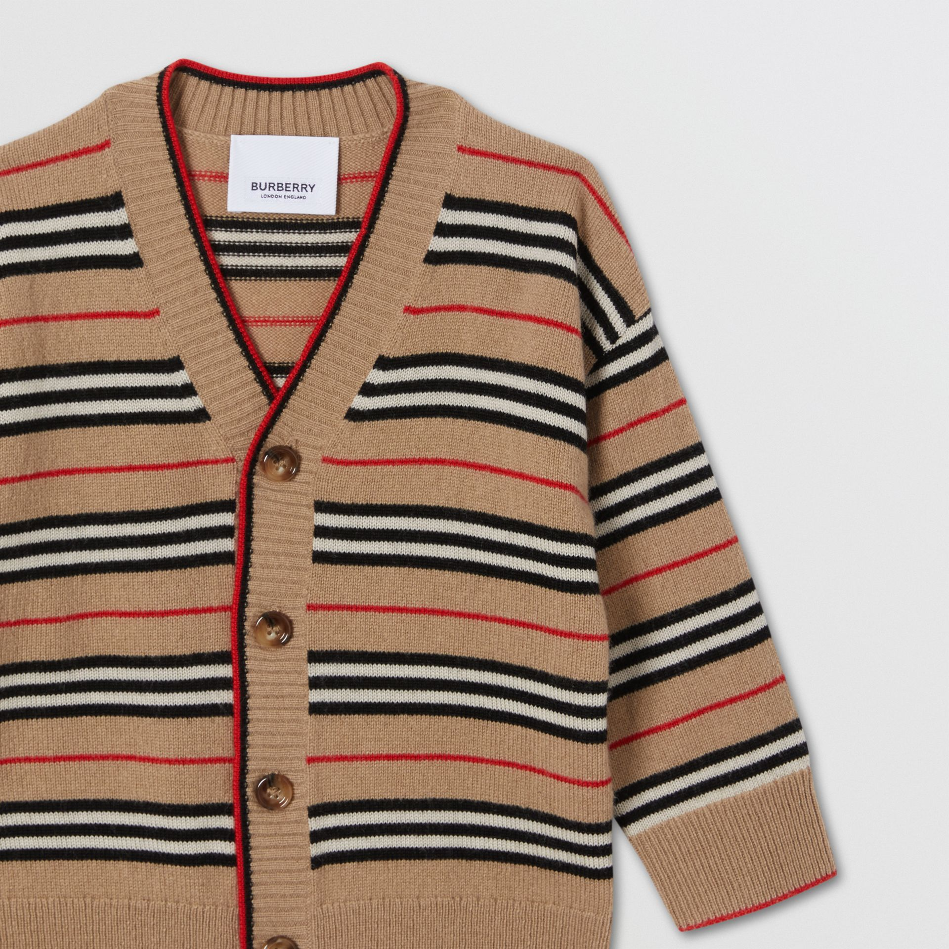 Icon Stripe Wool Cashmere Cardigan in Archive Beige - Children | Burberry United Kingdom - gallery image 5