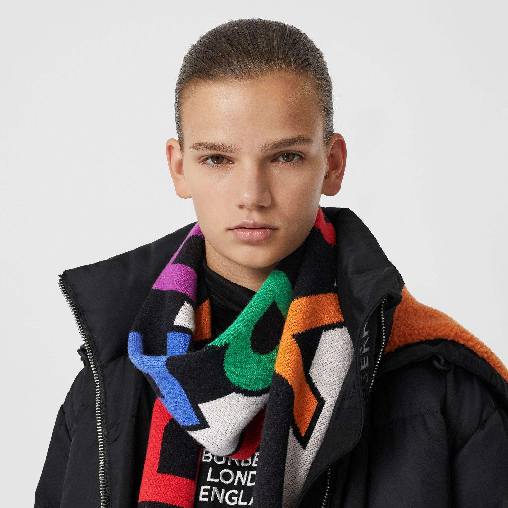 Logo Cashmere Jacquard Scarf in Multicolour | Burberry United States - gallery image 2