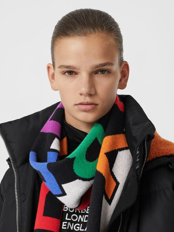 Logo Cashmere Jacquard Scarf in Multicolour | Burberry United States - cell image 2