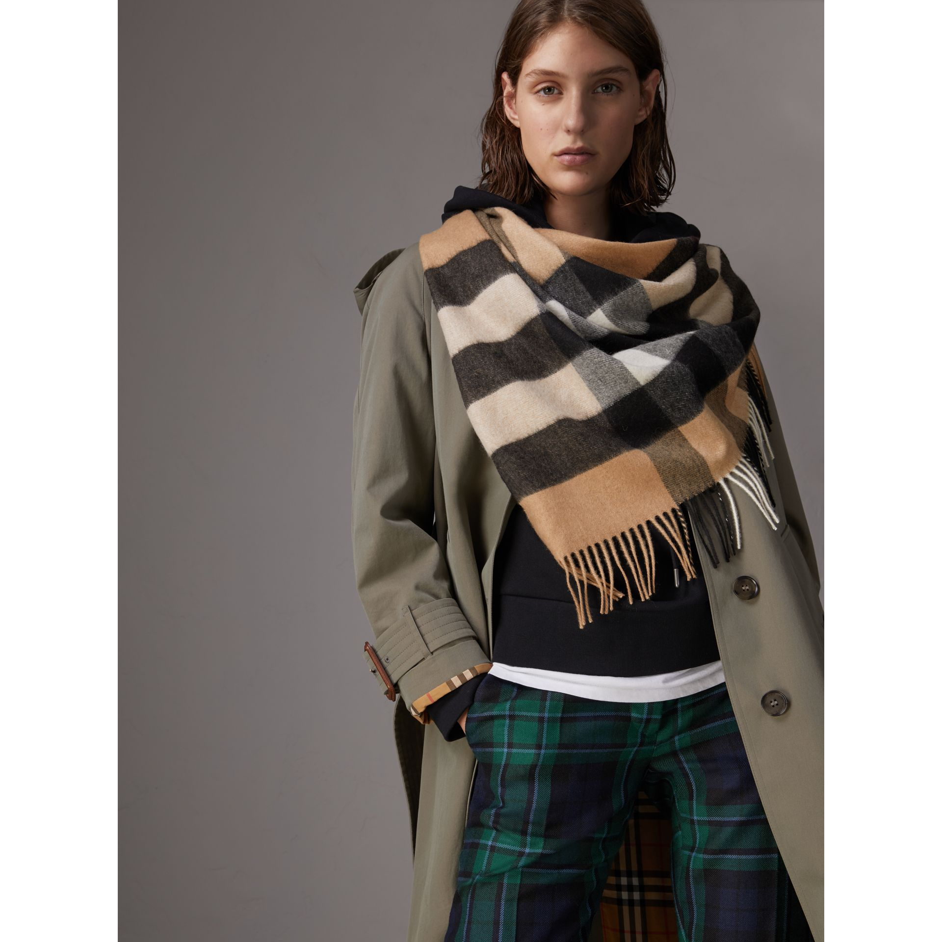 The Burberry Bandana in Check Cashmere in Camel | Burberry Canada - gallery image 3