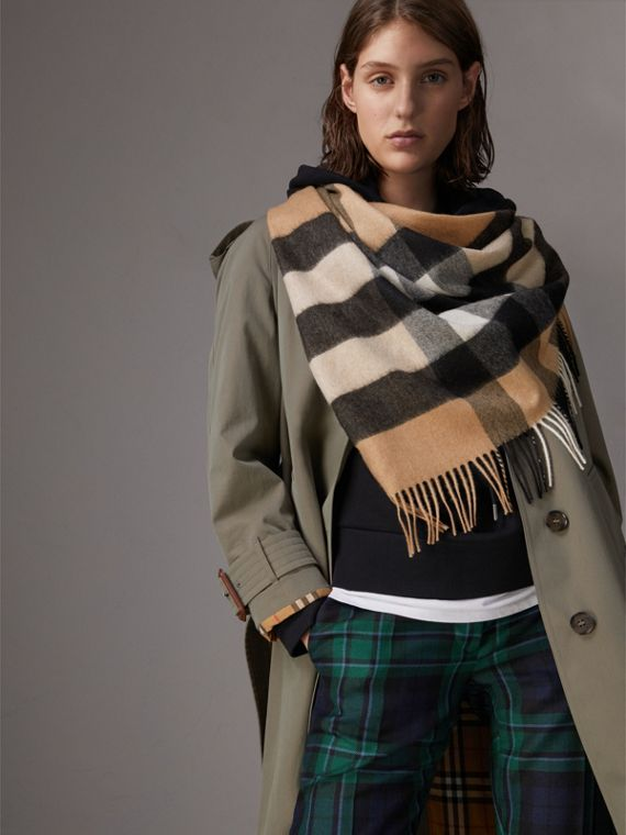The Burberry Bandana in Check Cashmere in Camel | Burberry Canada - cell image 3