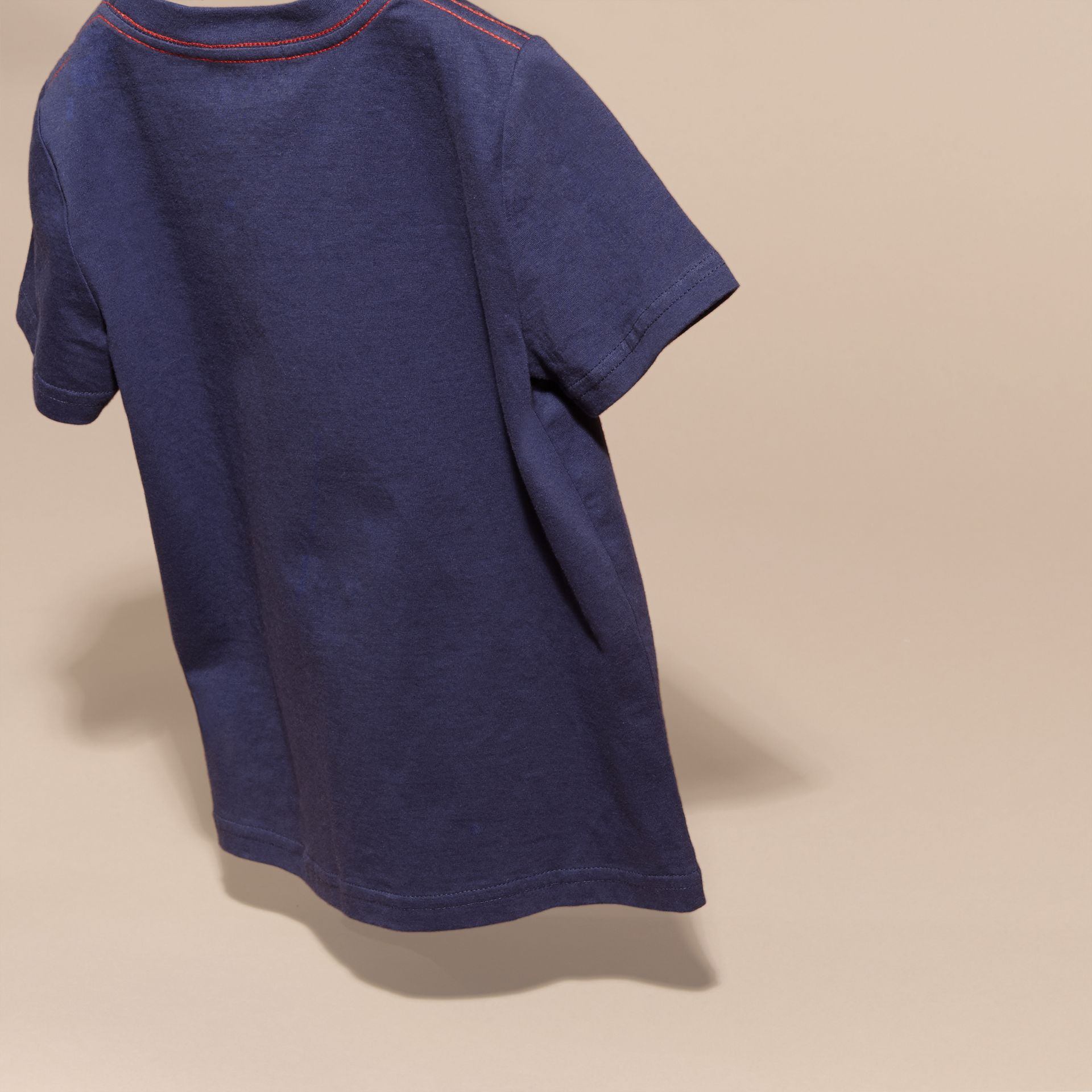 Indigo Playful Print Cotton T-Shirt - gallery image 4