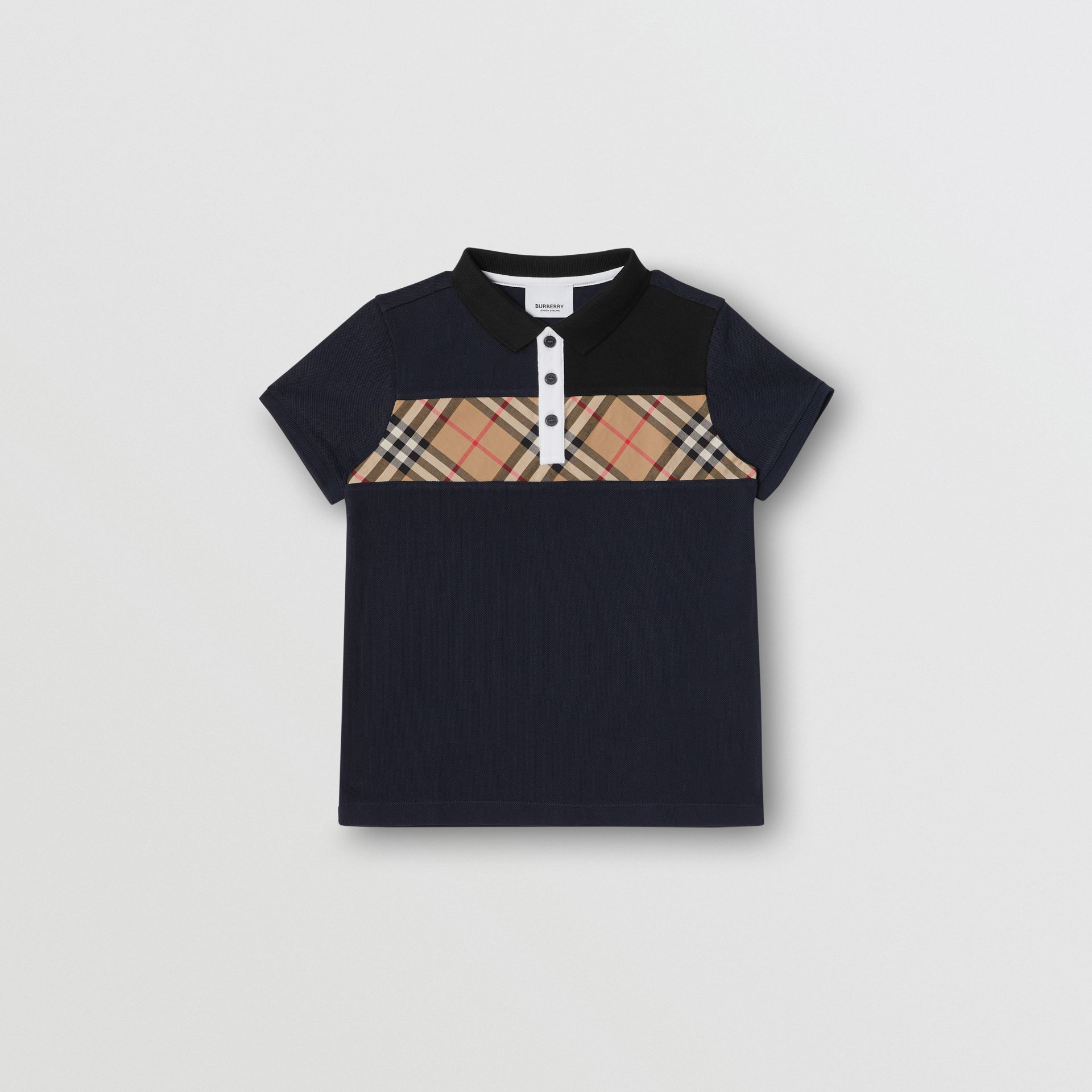 Vintage Check Panel Cotton Polo Shirt in Navy | Burberry United Kingdom - gallery image 0