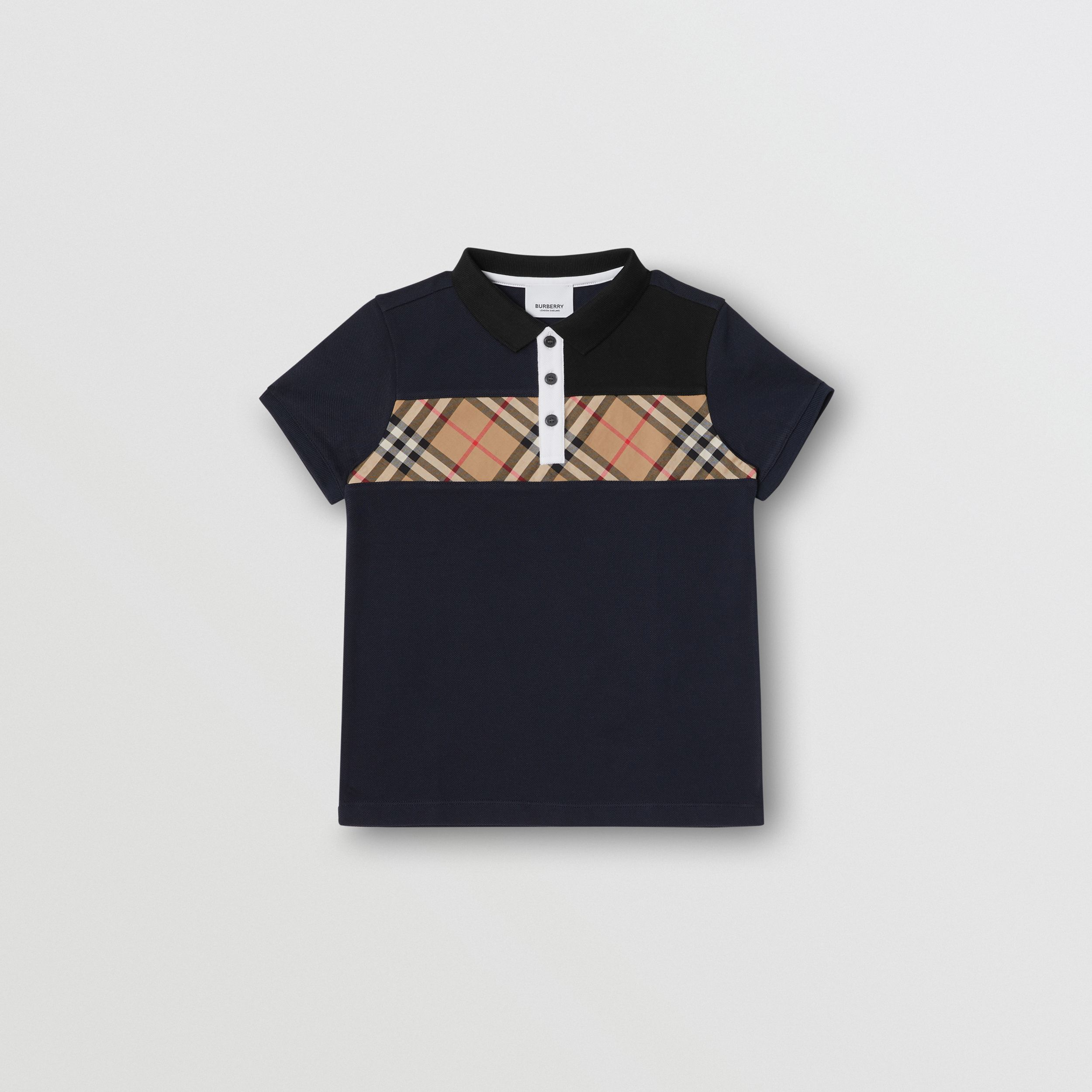 Vintage Check Panel Cotton Polo Shirt in Navy | Burberry Australia - 1