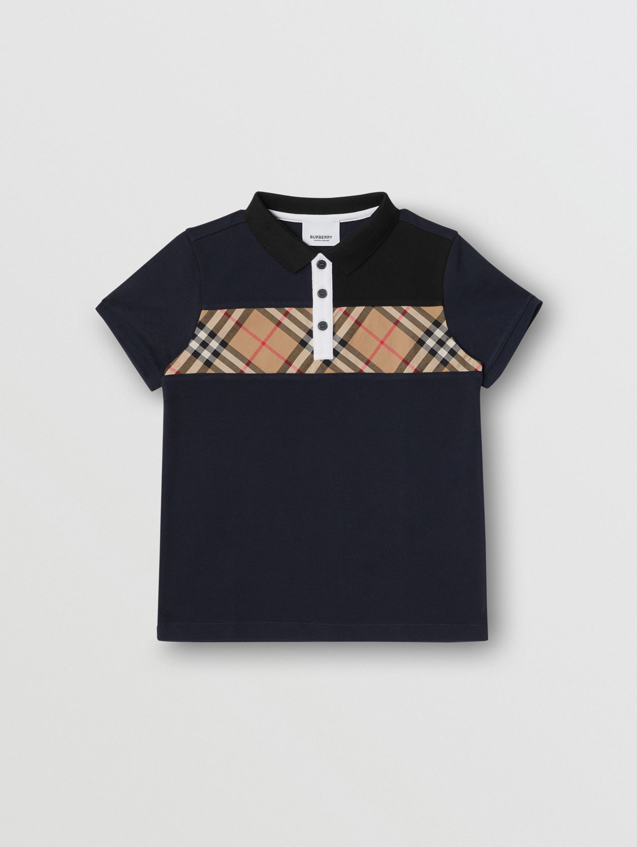 Polo in cotone con inserto Vintage check (Navy)
