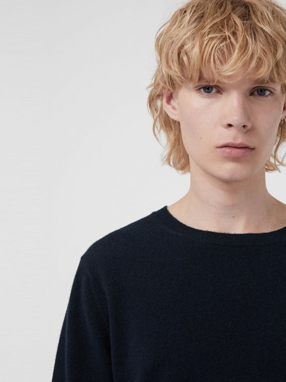 Embroidered Archive Logo Cashmere Sweater in Navy - Men | Burberry United Kingdom - cell image 1