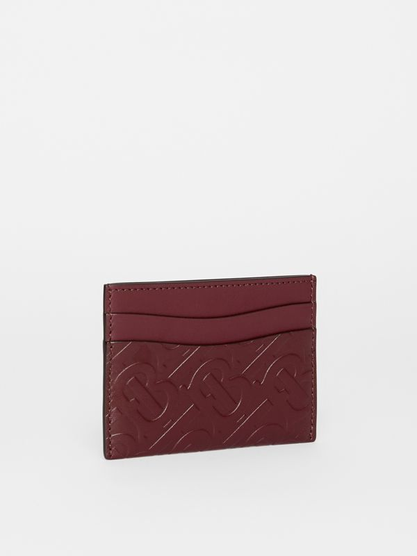 Monogram Leather Card Case in Oxblood - Women | Burberry United Kingdom - cell image 3