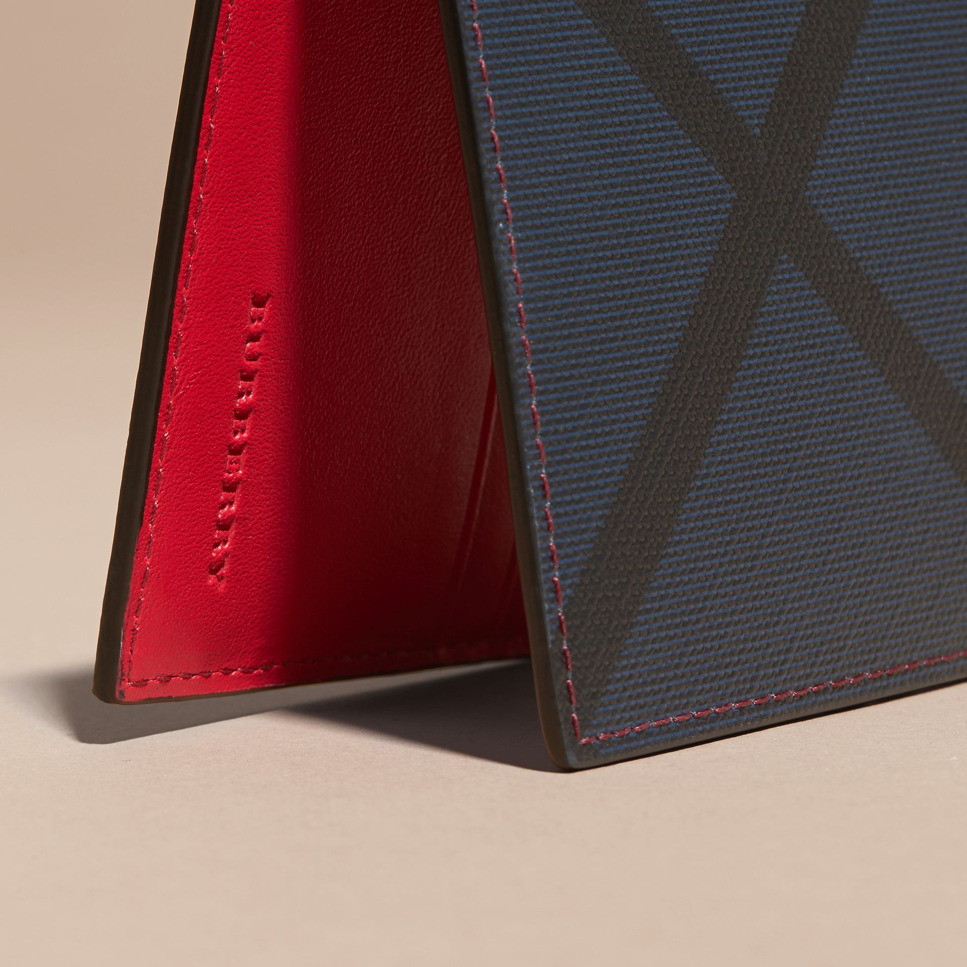 London Check and Leather Bifold Wallet in Parade Red - Men | Burberry - gallery image 2