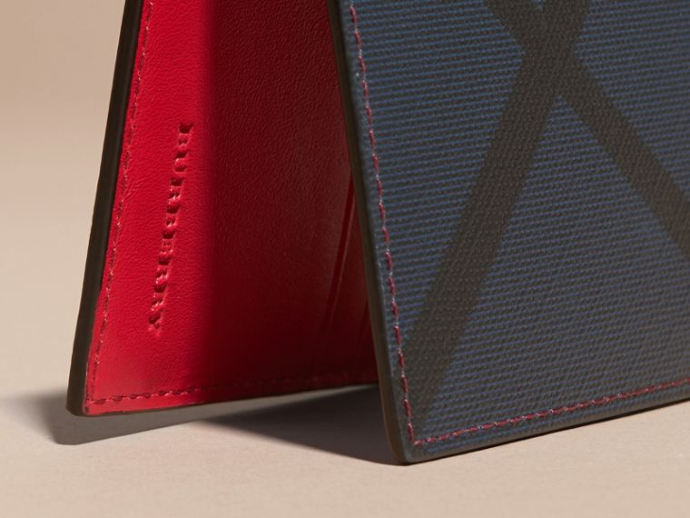 London Check and Leather Bifold Wallet in Parade Red - Men | Burberry - cell image 1