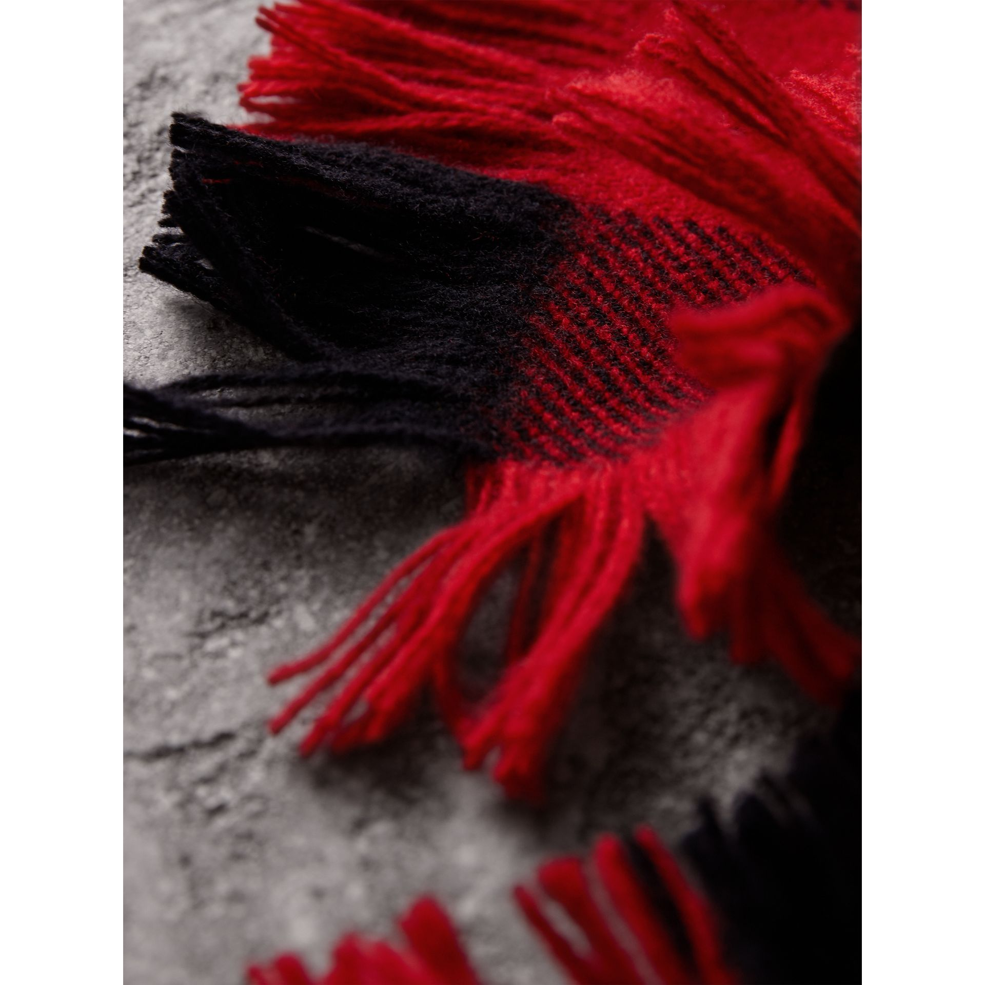 Fringed Check Wool Scarf in Military Red | Burberry United Kingdom - gallery image 2