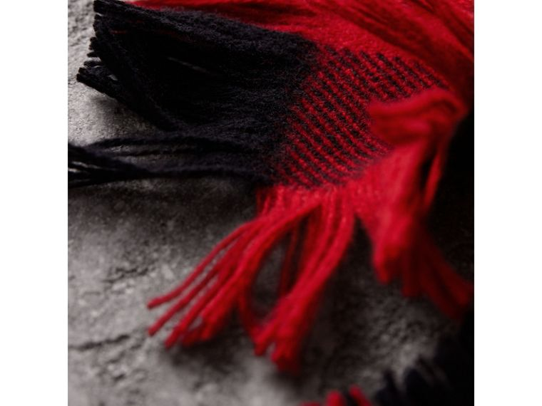 Fringed Check Wool Scarf in Military Red | Burberry Singapore - cell image 1