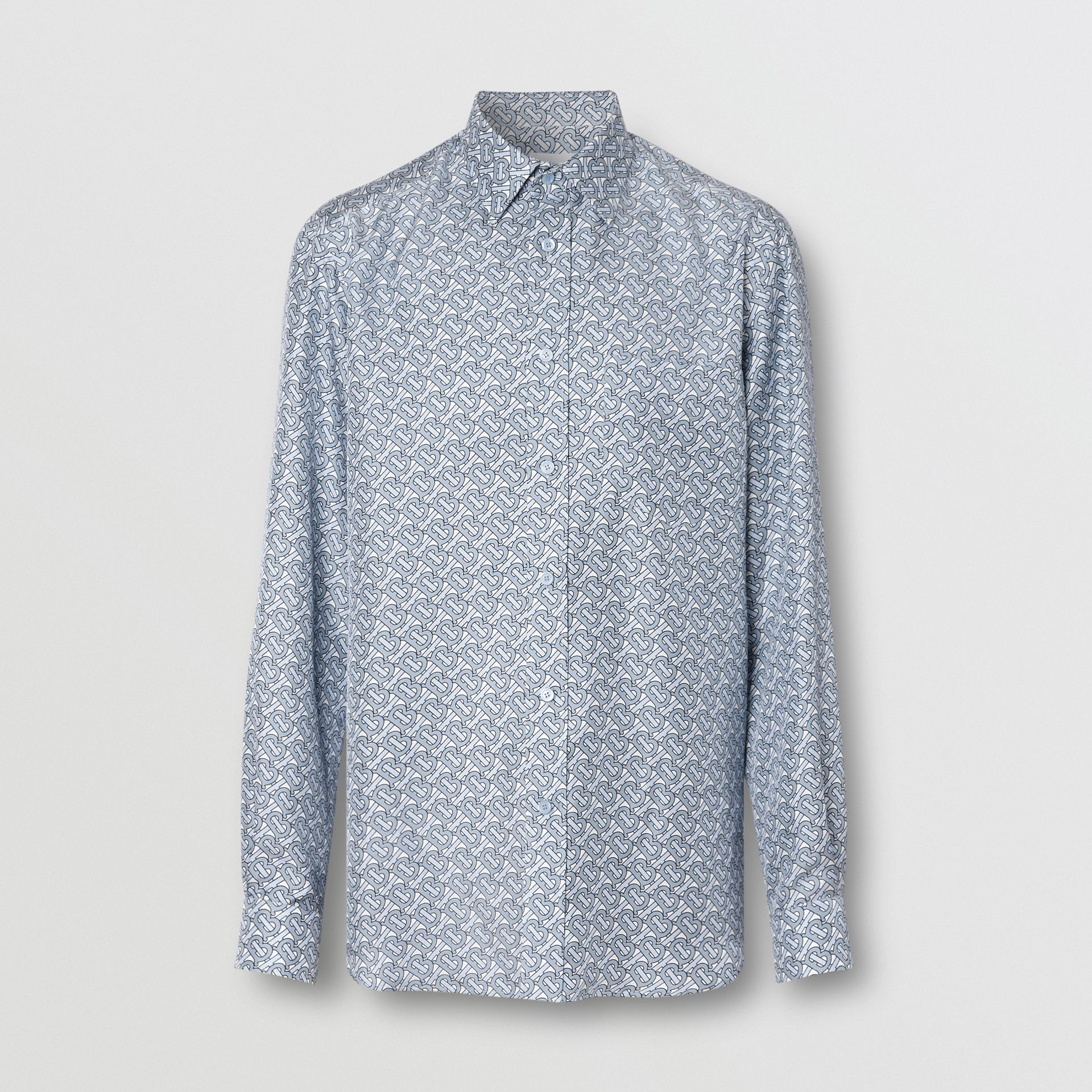 Classic Fit Monogram Print Silk Twill Shirt in Pale Blue - Men | Burberry United Kingdom - gallery image 3