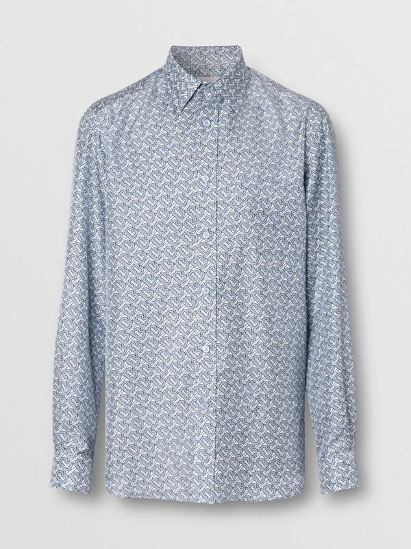 Classic Fit Monogram Print Silk Twill Shirt in Pale Blue - Men | Burberry - cell image 3