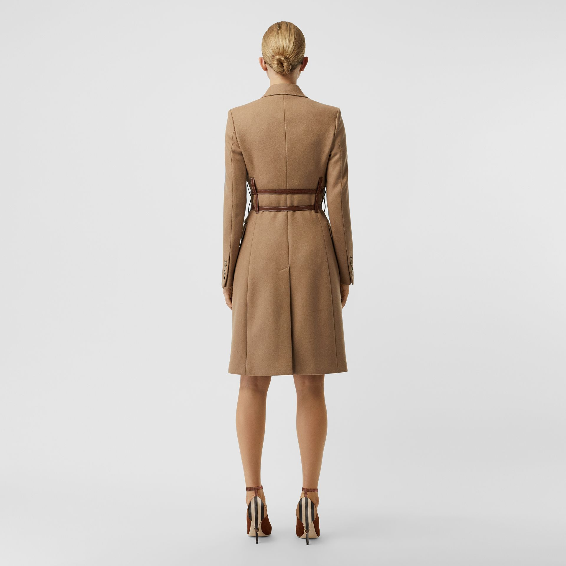 Leather Harness Detail Wool Tailored Coat in Camel - Women | Burberry - gallery image 1