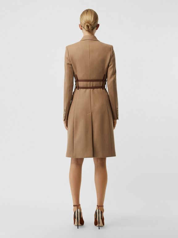 Leather Harness Detail Wool Tailored Coat in Camel - Women | Burberry - cell image 1