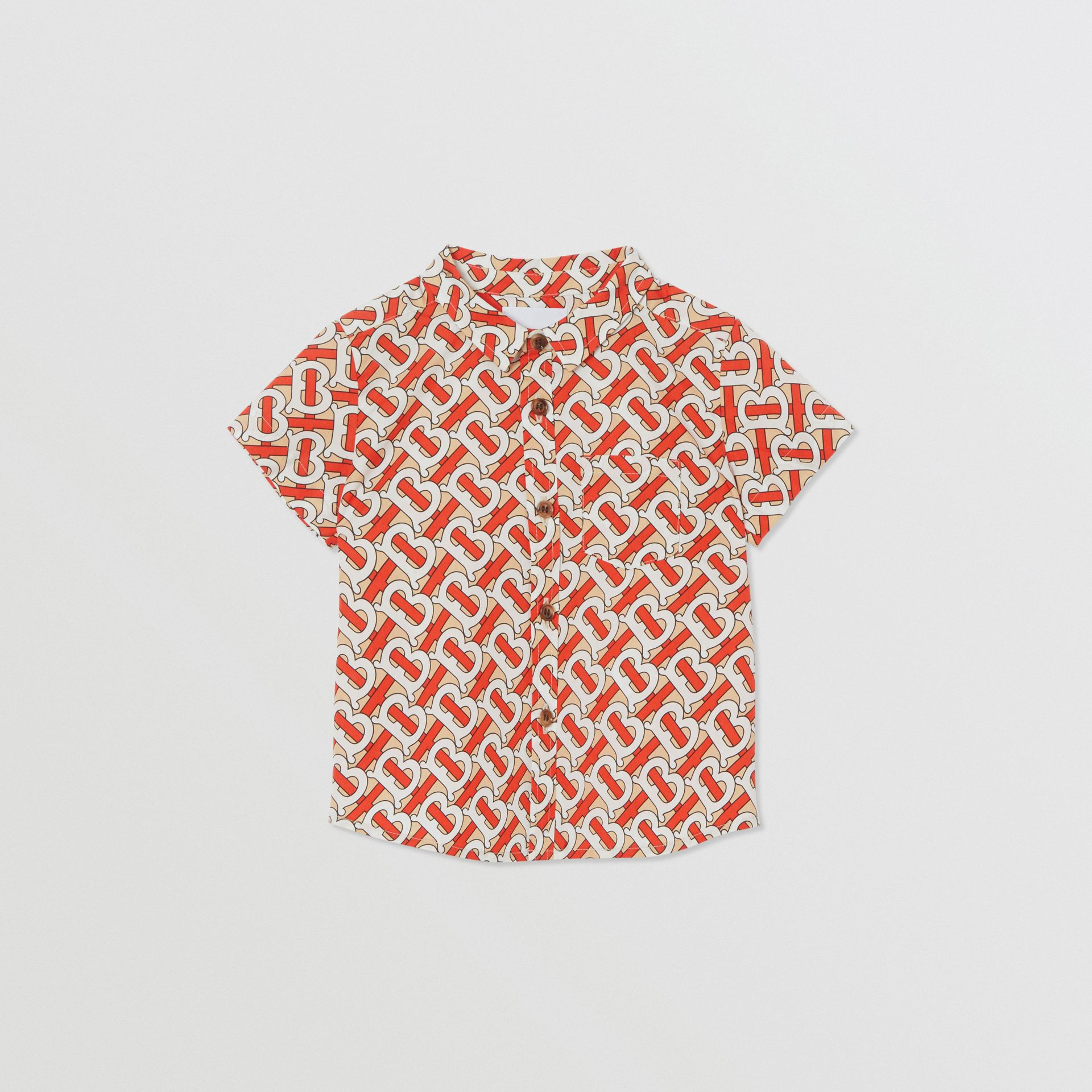 Short-sleeve Monogram Print Cotton Poplin Shirt in Vermilion Red - Children | Burberry - gallery image 0
