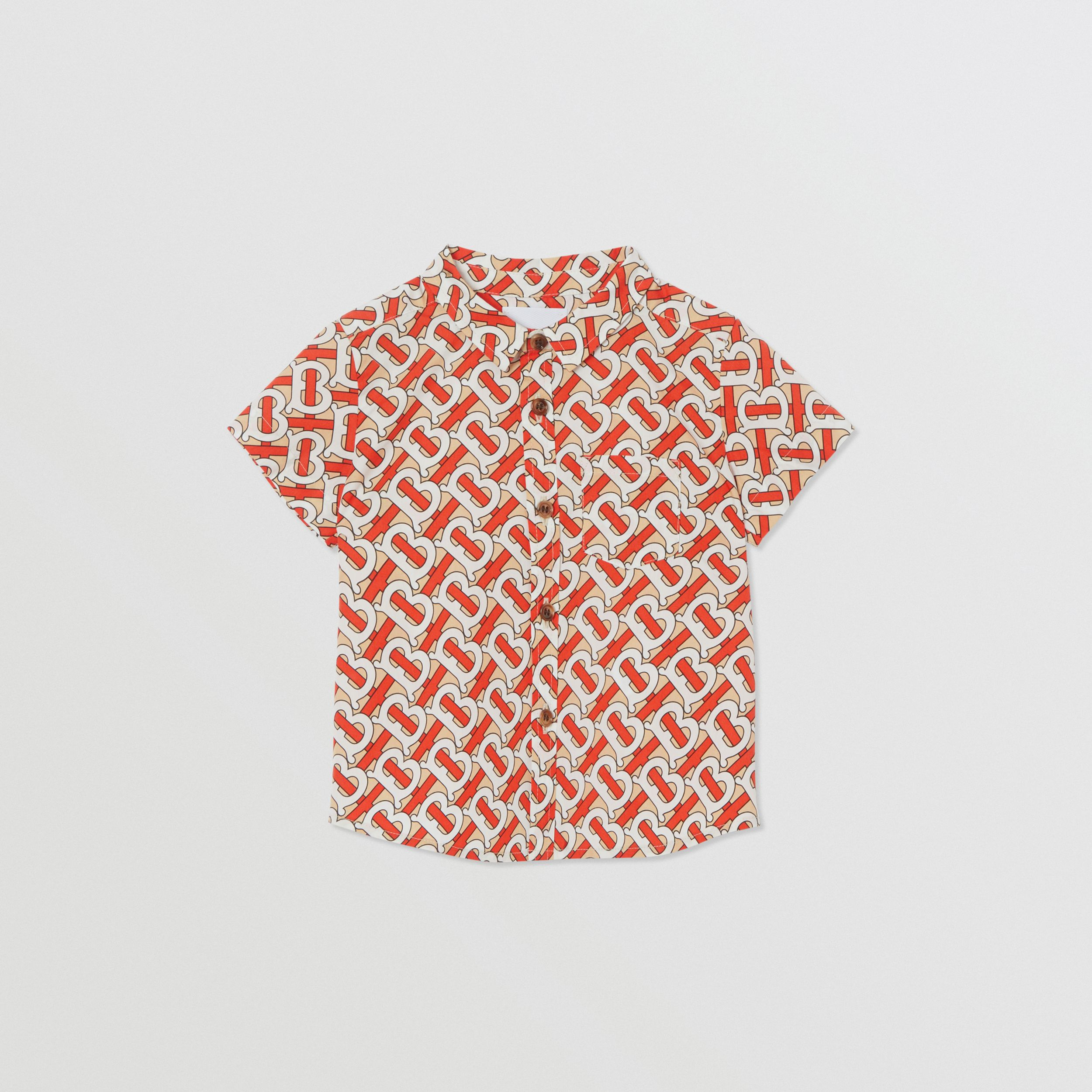 Short-sleeve Monogram Print Cotton Poplin Shirt in Vermilion Red - Children | Burberry - 1