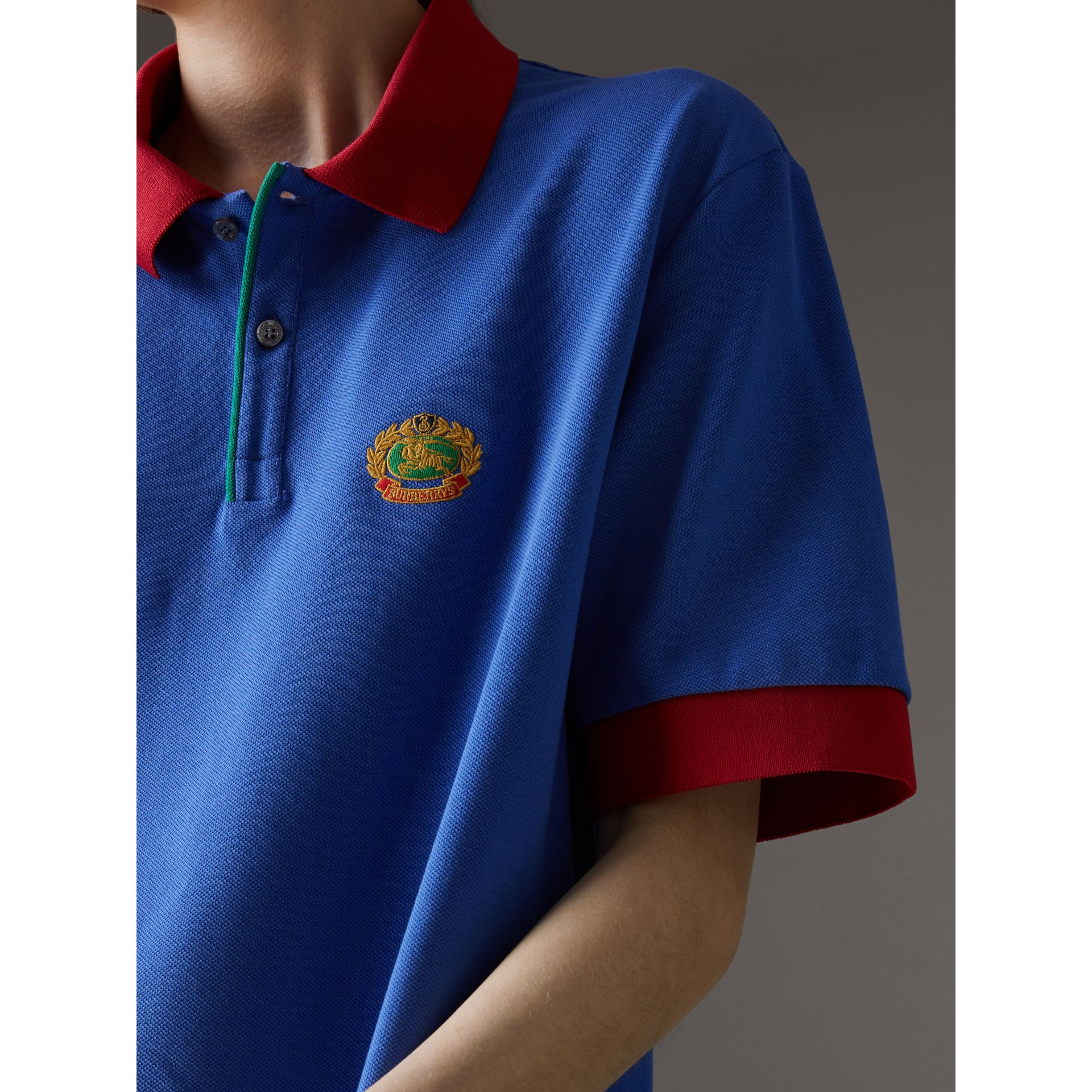 Reissued Cotton Polo Shirt in Cornflower Blue - Women | Burberry United Kingdom - gallery image 1