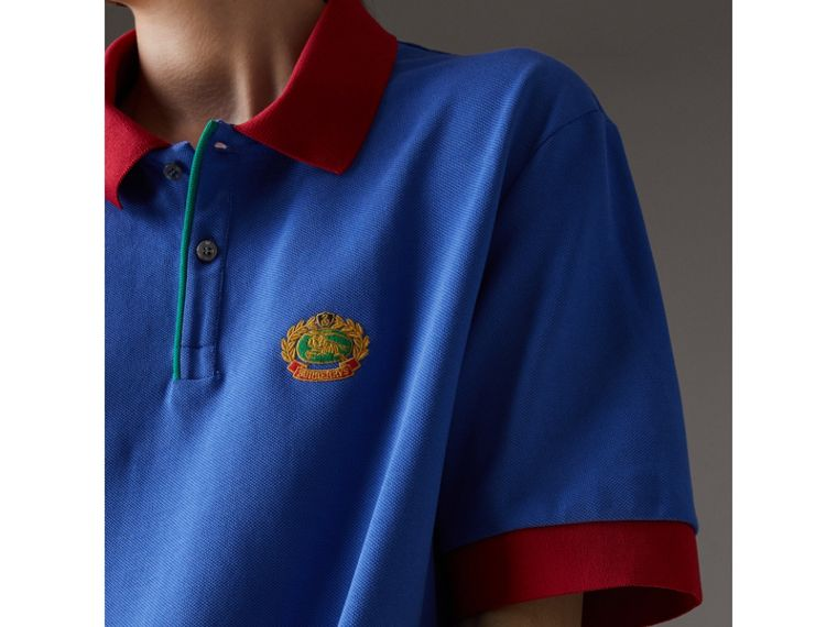 Reissued Cotton Polo Shirt in Cornflower Blue - Women | Burberry United Kingdom - cell image 1