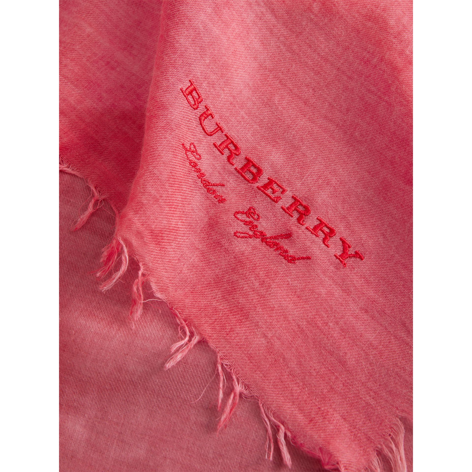 Embroidered Cashmere Cotton Scarf in Bright Coral Pink | Burberry - gallery image 1