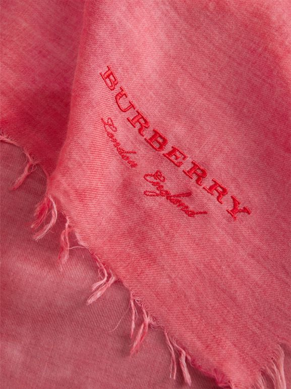 Embroidered Cashmere Cotton Scarf in Bright Coral Pink | Burberry United Kingdom - cell image 1