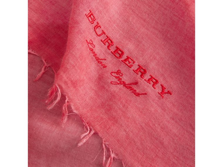 Embroidered Cashmere Cotton Scarf in Bright Coral Pink | Burberry - cell image 1