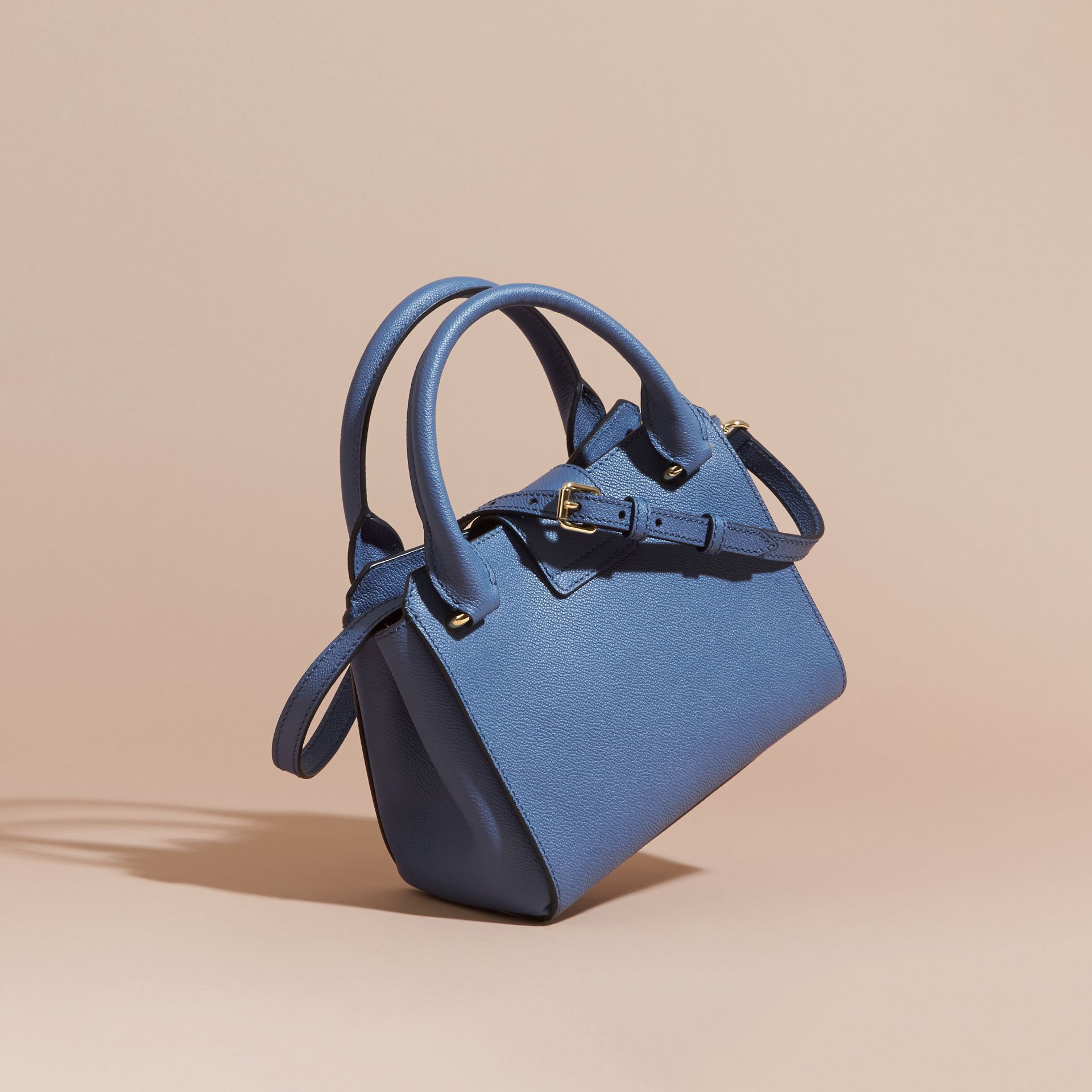 The Small Buckle Tote in Grainy Leather Steel Blue - gallery image 5