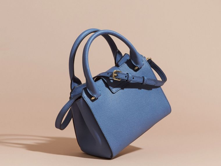 The Small Buckle Tote in Grainy Leather in Steel Blue - cell image 4