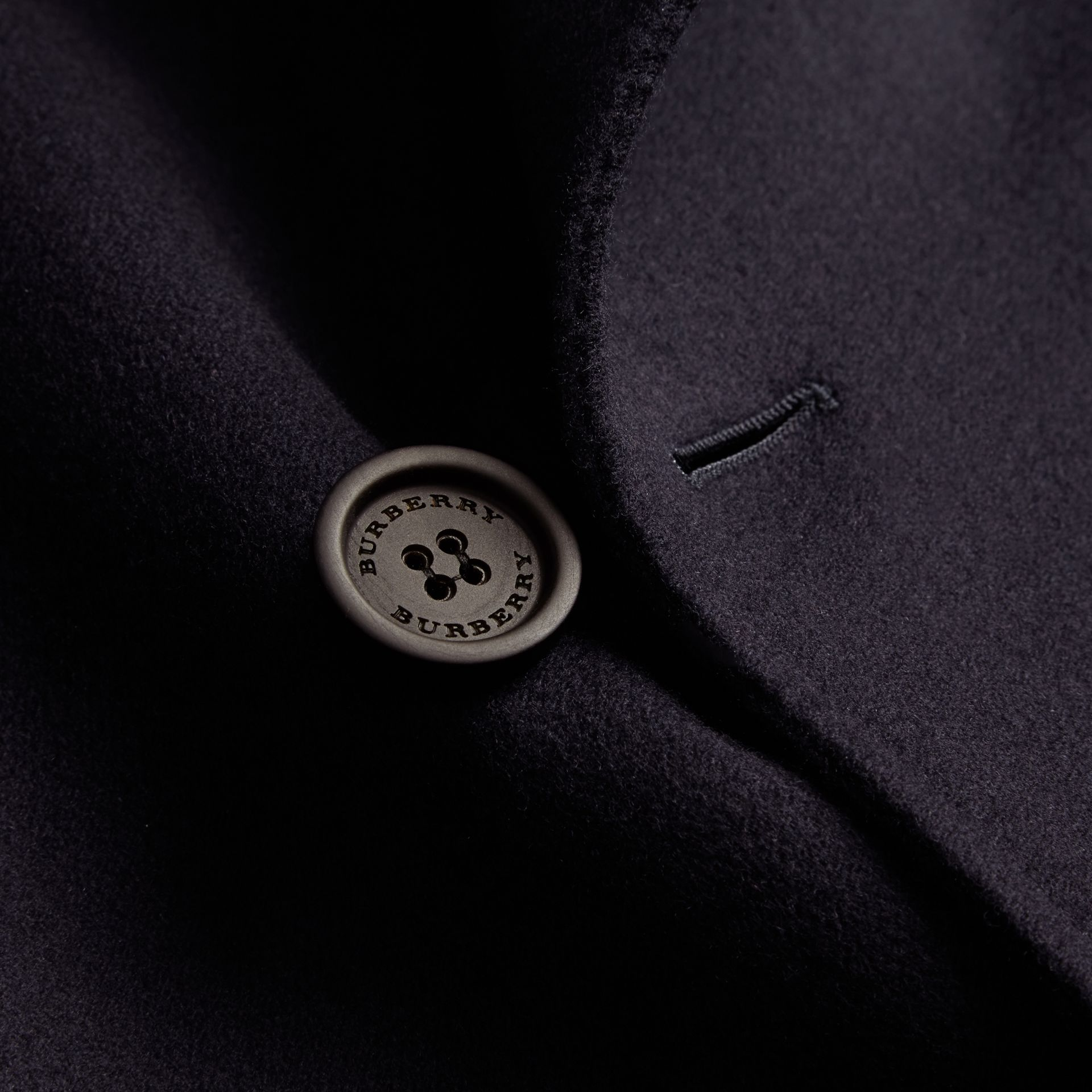 Navy Cashmere Wool Trench Coat - gallery image 2
