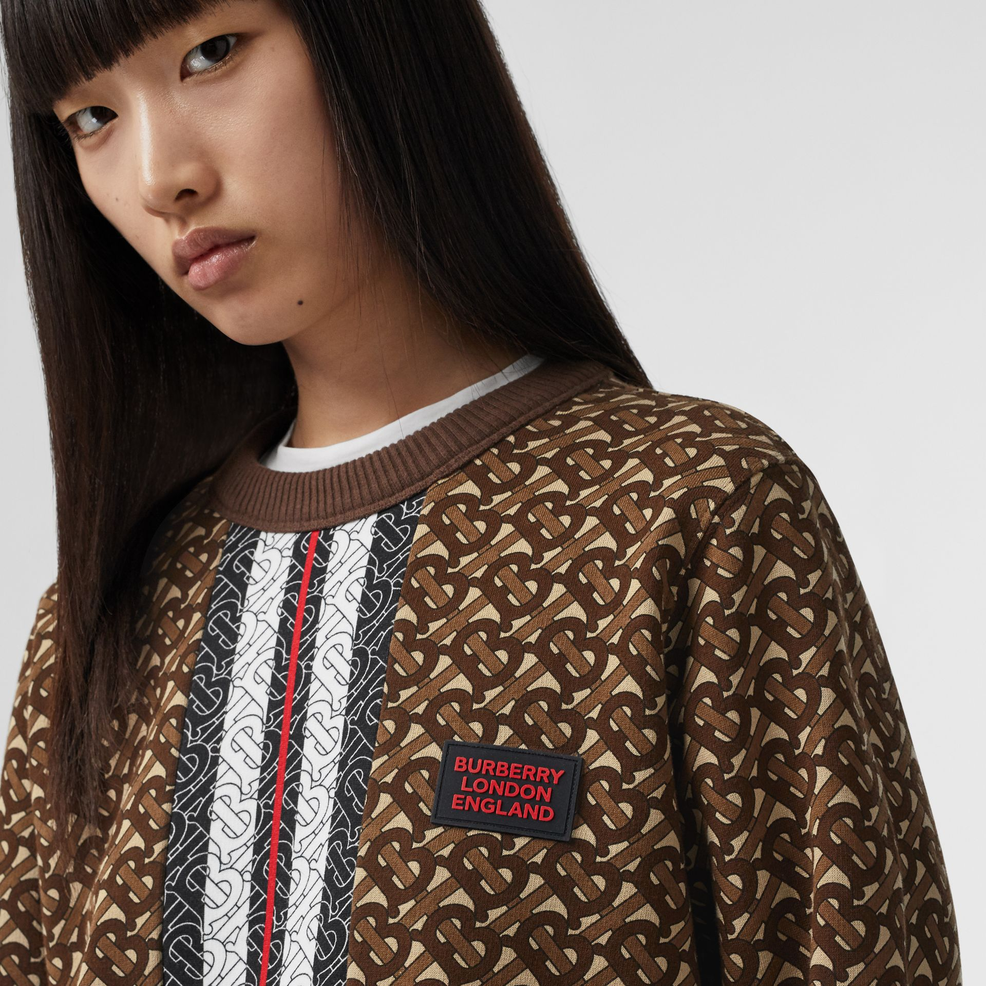 Monogram Stripe Print Cotton Oversized Sweatshirt in Bridle Brown - Women | Burberry - gallery image 5