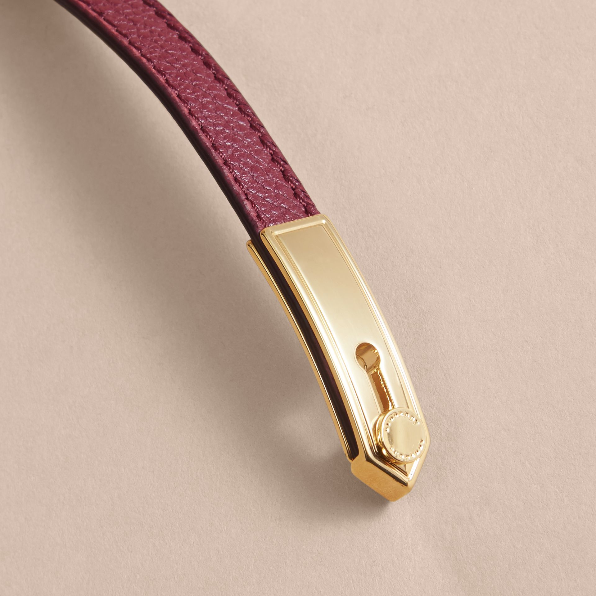 Dark plum Epaulette Plaque Leather Bracelet Dark Plum - gallery image 2