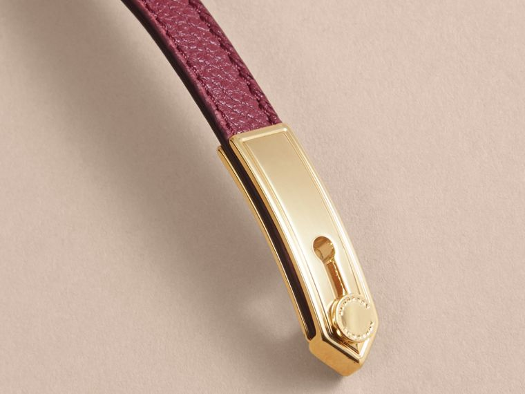 Dark plum Epaulette Plaque Leather Bracelet Dark Plum - cell image 1