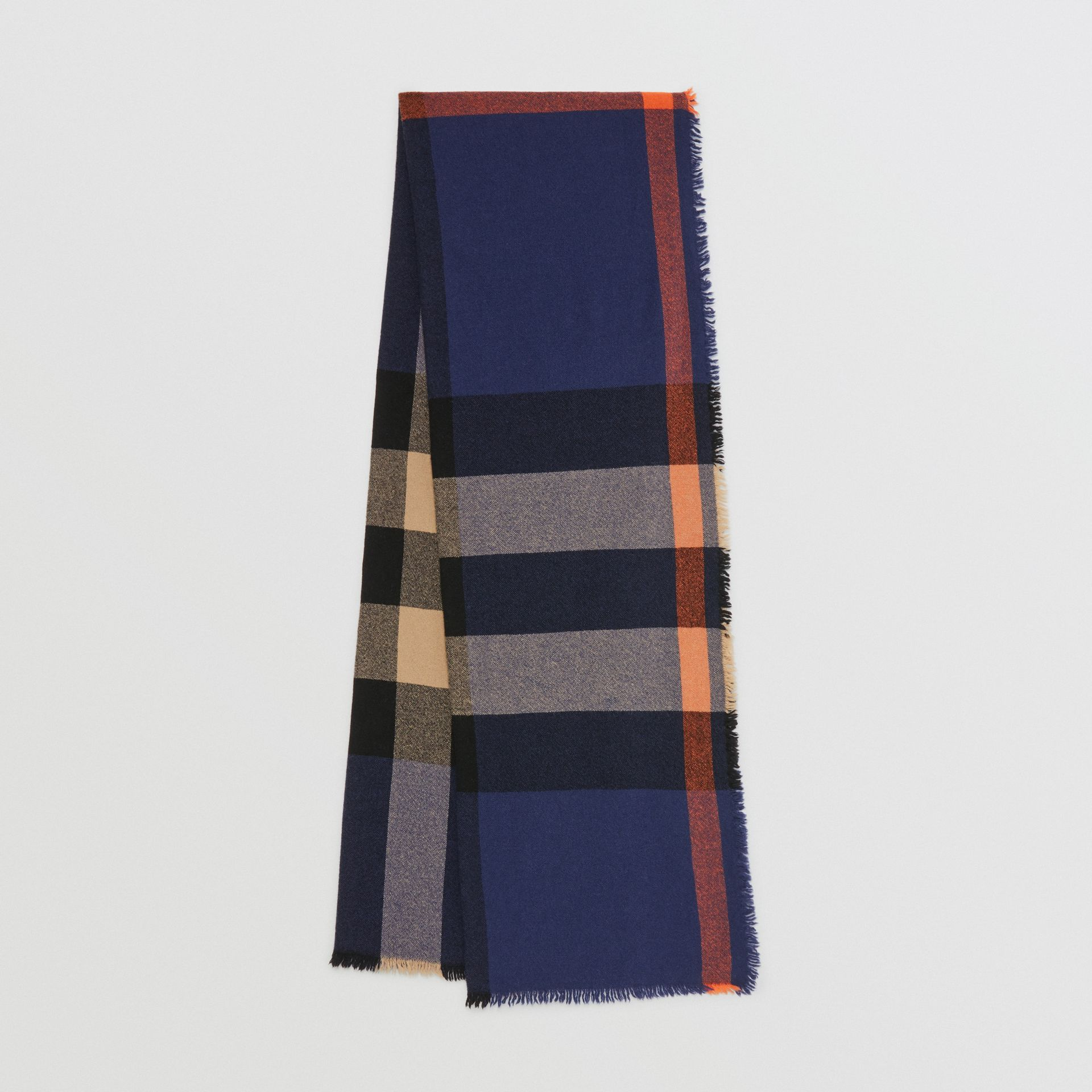 Fringed Check Wool Cashmere Scarf in Ink Blue | Burberry - gallery image 0