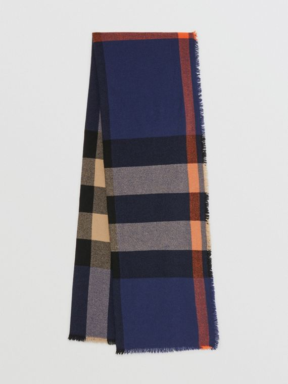 Fringed Check Wool Cashmere Scarf in Ink Blue