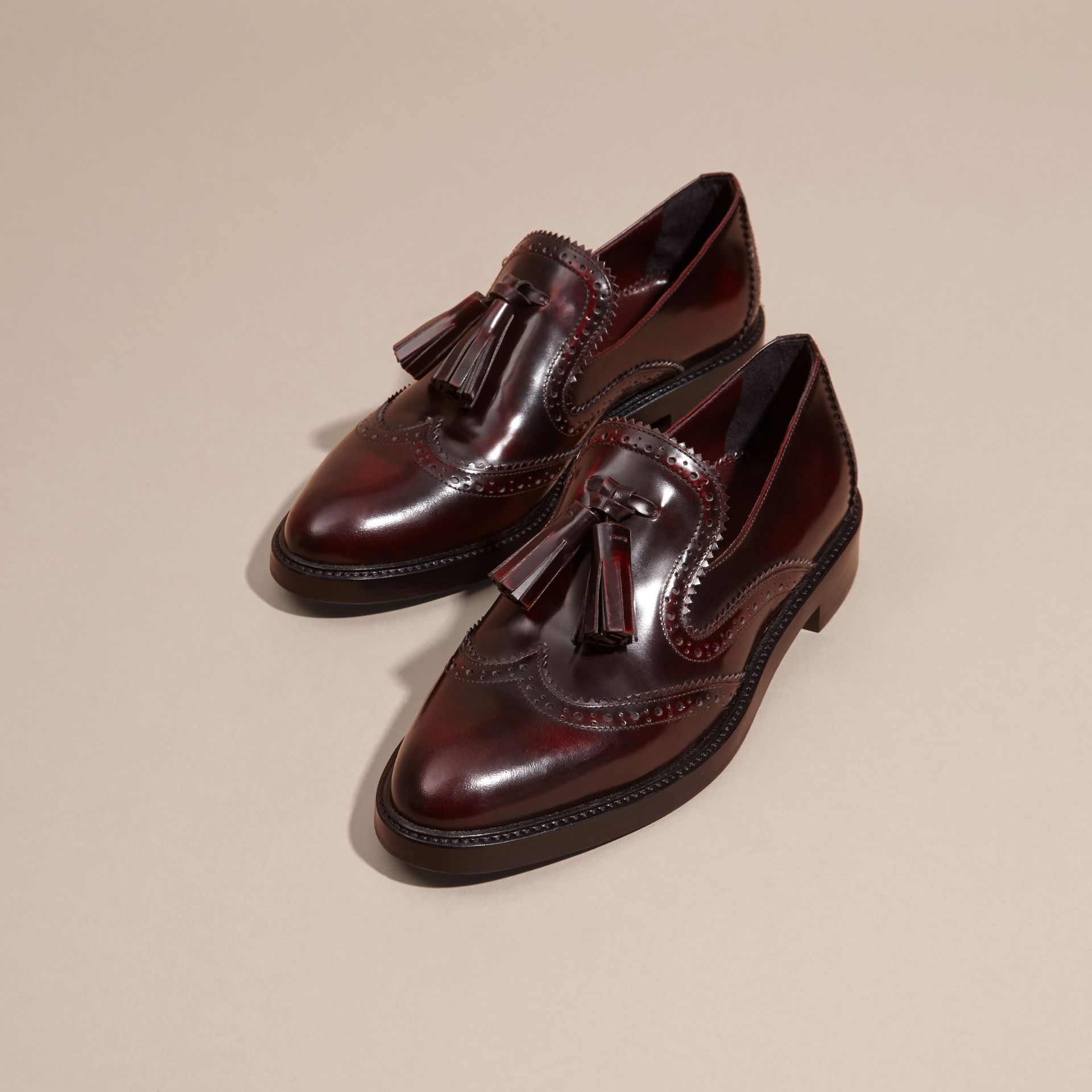 Bordeaux Dégradé Tassel Detail Leather Loafers - gallery image 3