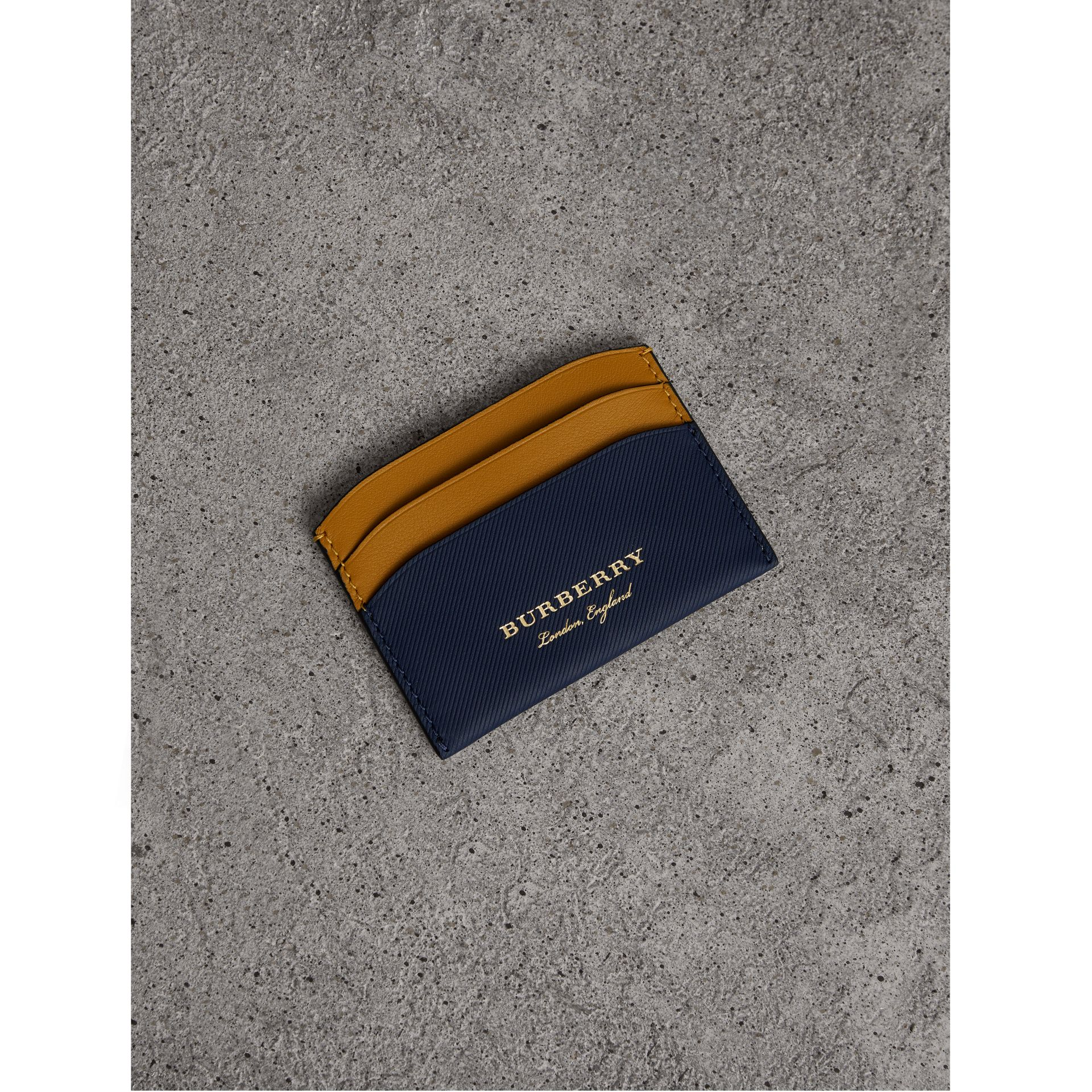 Two-tone Trench Leather Card Case in Ink Blue/ochr Yellow | Burberry - gallery image 0