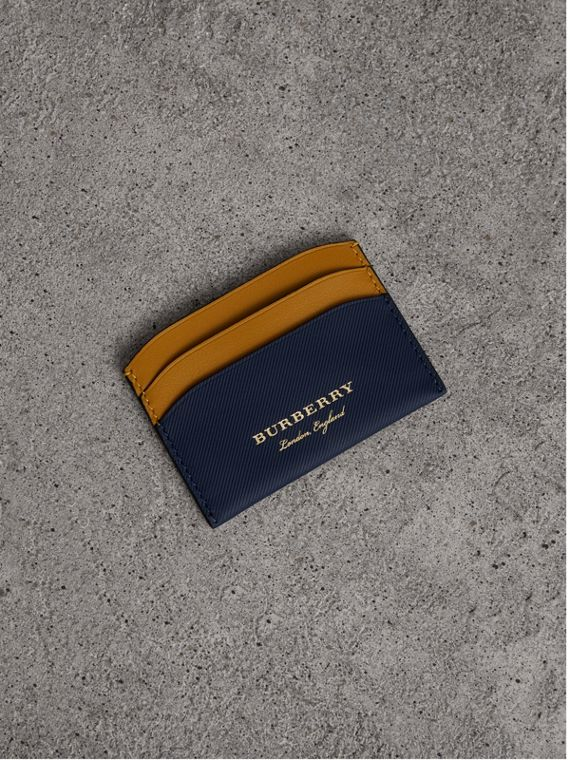 Two-tone Trench Leather Card Case in Ink Blue/ochr Yellow