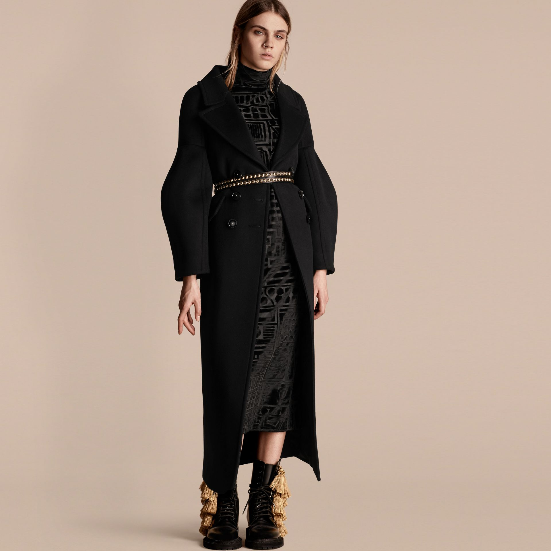 Black Puff-sleeved Wool Coat - gallery image 1