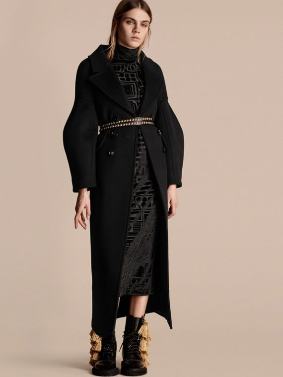Puff-sleeved Wool Coat