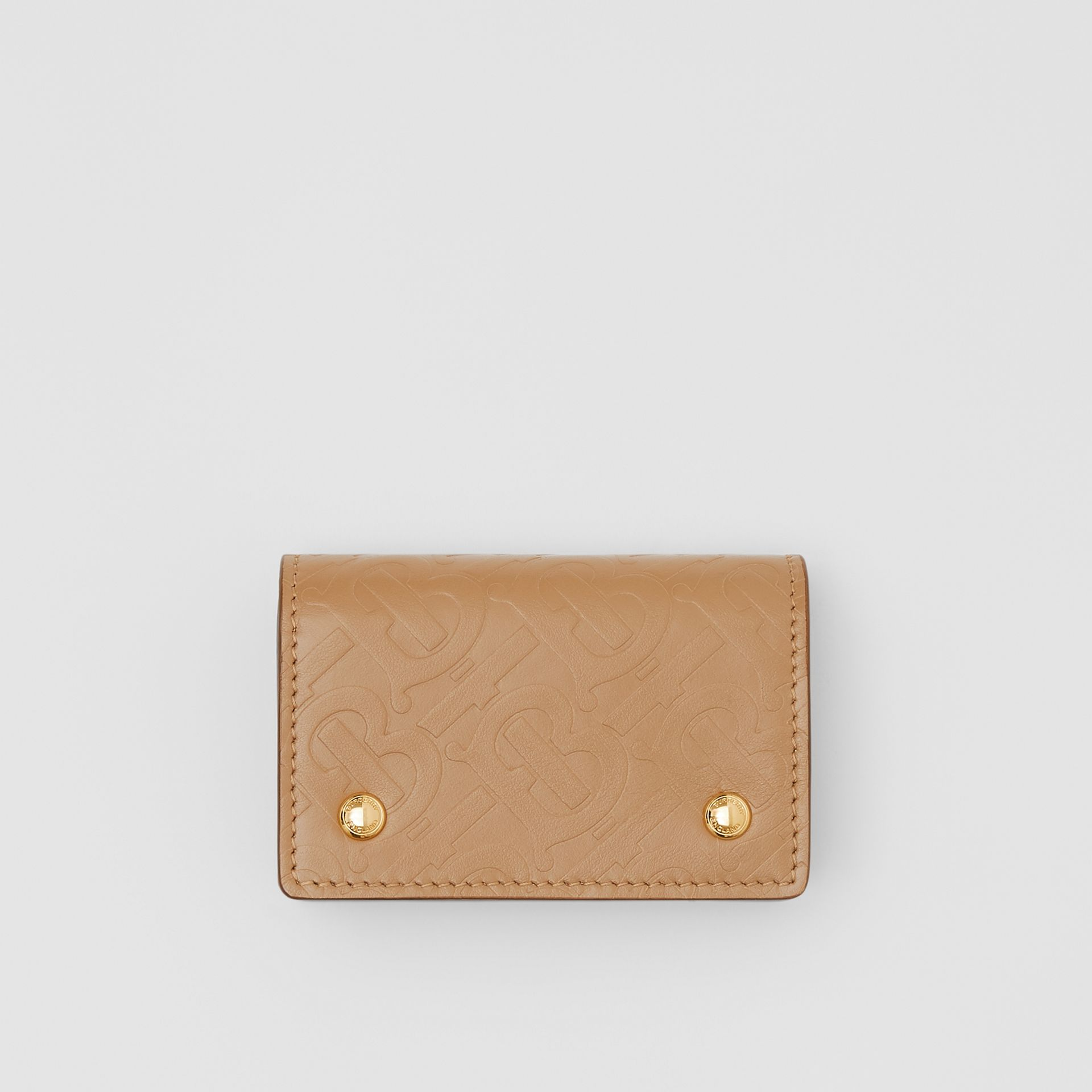 Monogram Leather Card Case in Light Camel | Burberry - gallery image 0