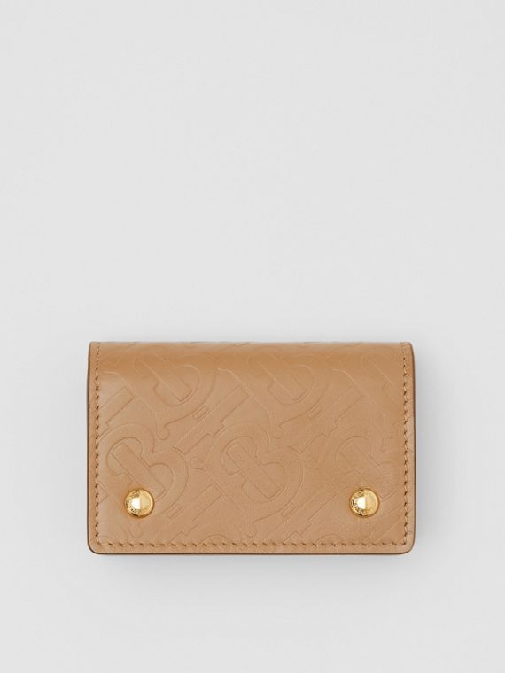 Monogram Leather Card Case in Light Camel
