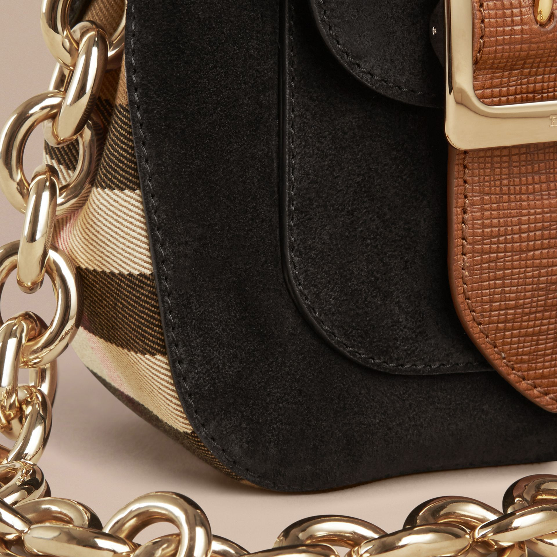 Black The Small Square Buckle Bag in English Suede and House Check - gallery image 6