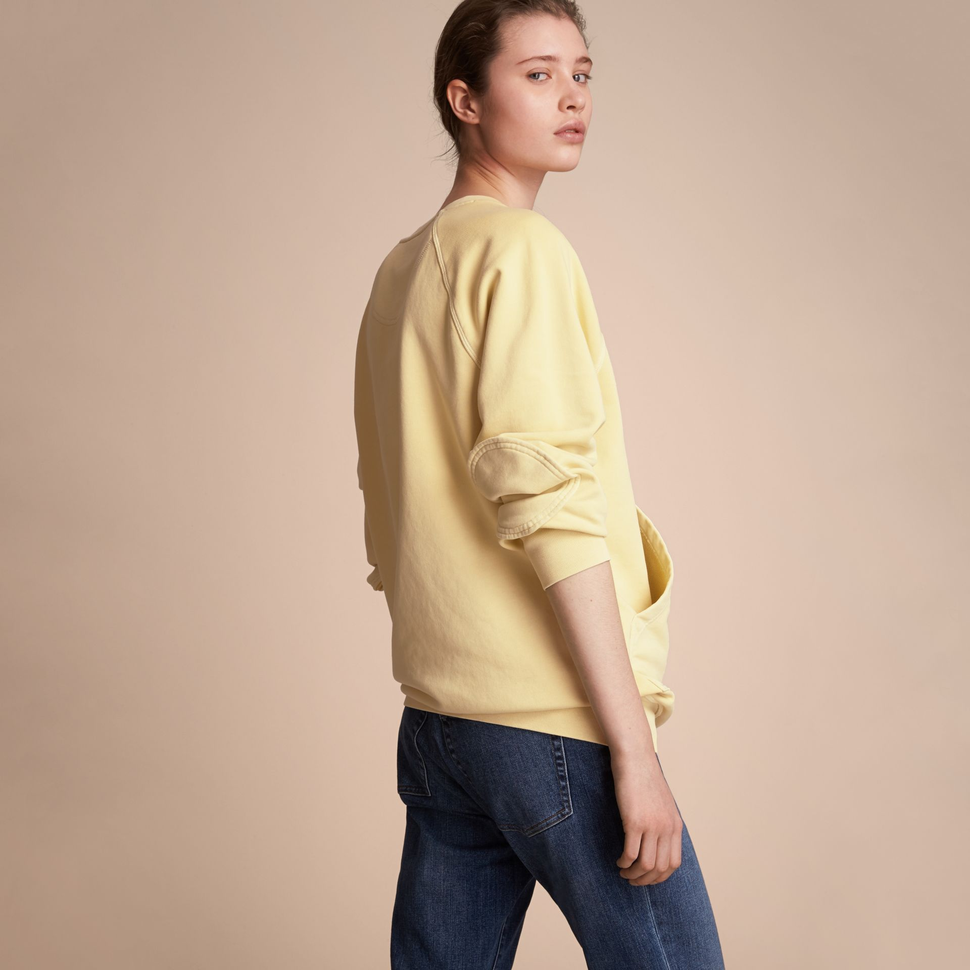 Unisex Pigment-dyed Cotton Oversize Sweatshirt in Pale Yellow - Women | Burberry Hong Kong - gallery image 3